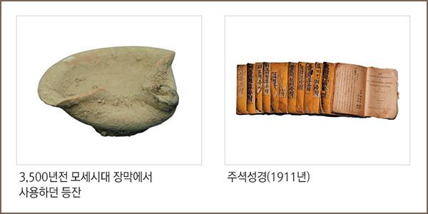 3,500년전 못시대 장막에서 사용하던 등잔, 주석성경(1911년)